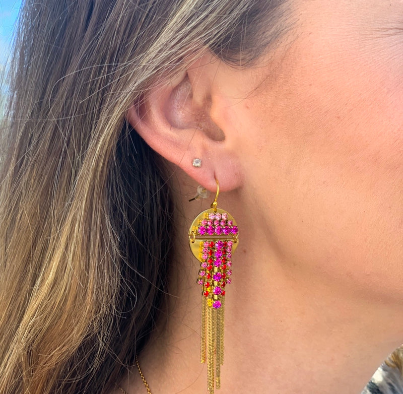 "multi colored pink earring. Pink circular earring made with 14KT gold plated over brass, Austrian crystal, and vintage Swarovski crystal. Sandy Hyun. Measures 3"" long"