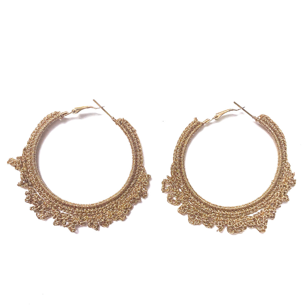 "crocheted gold earring from shiraleah. measures 3"" long. Spring wardrobe, gold earrings, hoops. Coachella earrings, Large hoop earrings. Under $30"
