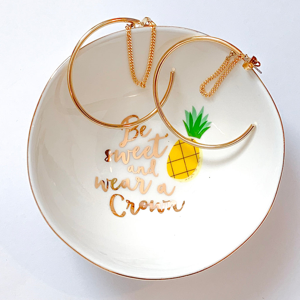 "Be sweet and wear a crown trinket tray with pineapple. Measures 4.5 x 4.5"". Home and gift. Made by SLANT. Jewelry organizer, trinket tray, funny saying"