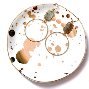organizing trinket tray with gold splatter paint by SLANT. Measures 4.5 x 4.5""