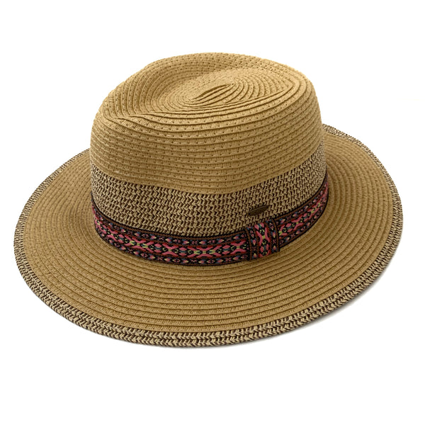 natural hat, tan hat, under $35 hat, colorful hat with band, colorful band throughout hat