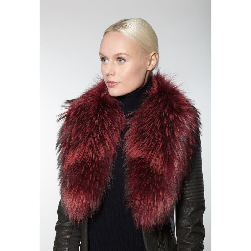 100% Genuine Fur Collar made of North American Raccoon fur. Fashion fur collar, wine furry collar, Linda Richards Luxury, authentic fur