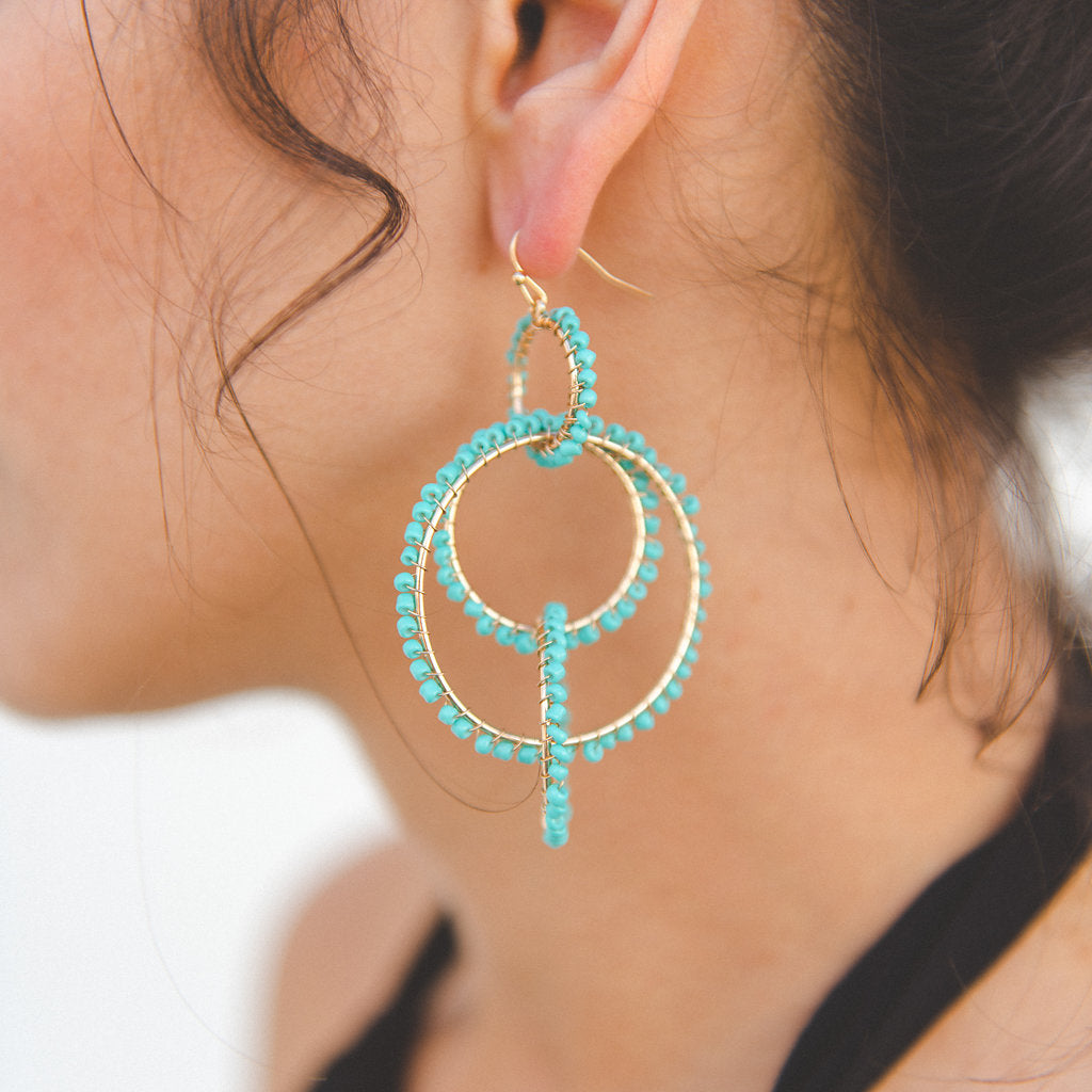 Seed bead linked hoop drop earring. Drop earring. Made by Caroline hill. under $25 jewelry
