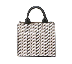 top handle tote bag, made of vegan leather. Un Billion. Medium sized bag wtih multi pattern in oak