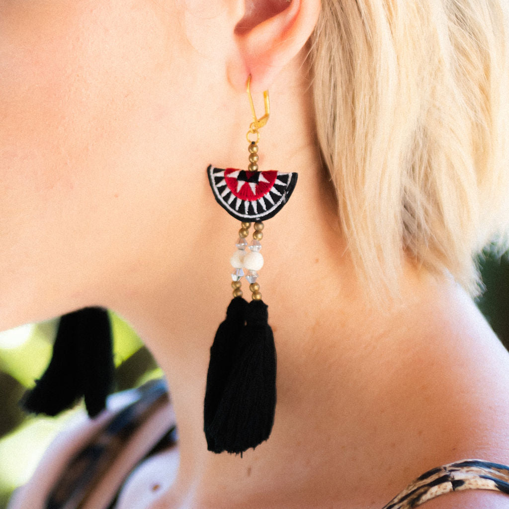 trendy fan tassel earring with black fringe detailing, statement earring, playful earring, Shashi, lever back closure