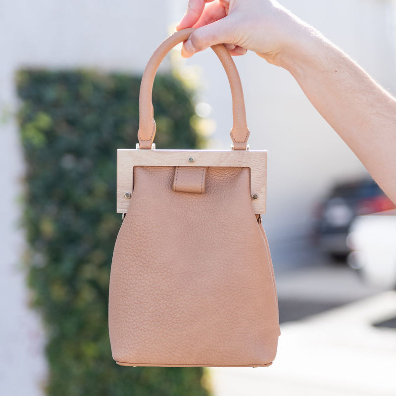 mini bag, satchel bag, purse, handbag, tan bag. tan mini bag with wood frame, Street Level
