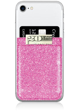 pink glitter phone pocket wallet