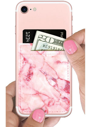 Blush Marble Faux Leather Phone Pocket