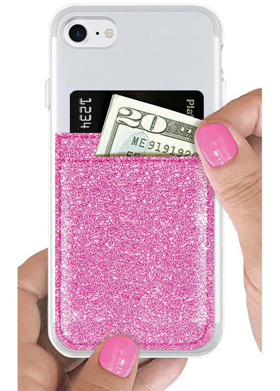 "pink glitter phone pocket wallet, measures 3.4"" L x 2.5"" W, gift idea, under $15, pink wallet, IDecoz, card holder"