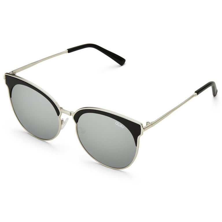 round reflective lenses set in an understated metal frame with winged cat-eye arches