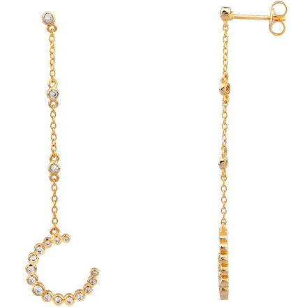 Crystal studded 18k gold plated sterling silver thin chain embellished with a crystal cluster dangle