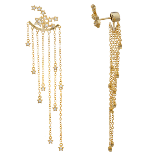 18k gold plated sterling silver thin chain earring fashioned with crystal stars. cz earring, Elizabeth Stone, post earring