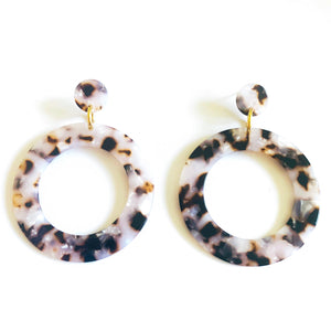 "post back closure and is lightweight so you can wear them all day long. Made of acrylic. Measures 3"". circle shape, neutral earring, round earring, acrylic earring, trending, under $20"
