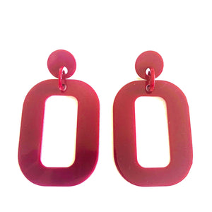 "post back closure and is lightweight so you can wear them all day long. Made of plastic. Measures 3.5"". chunky burgundy rectangular earring"