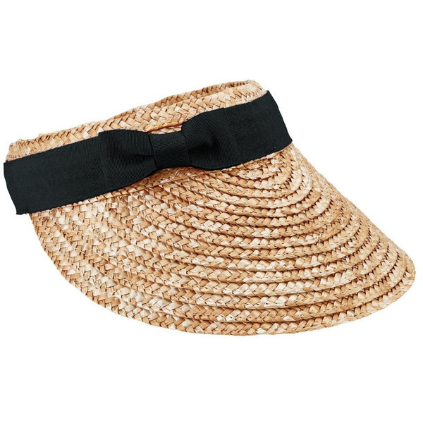 Wheat straw visor with black ribbon bow
