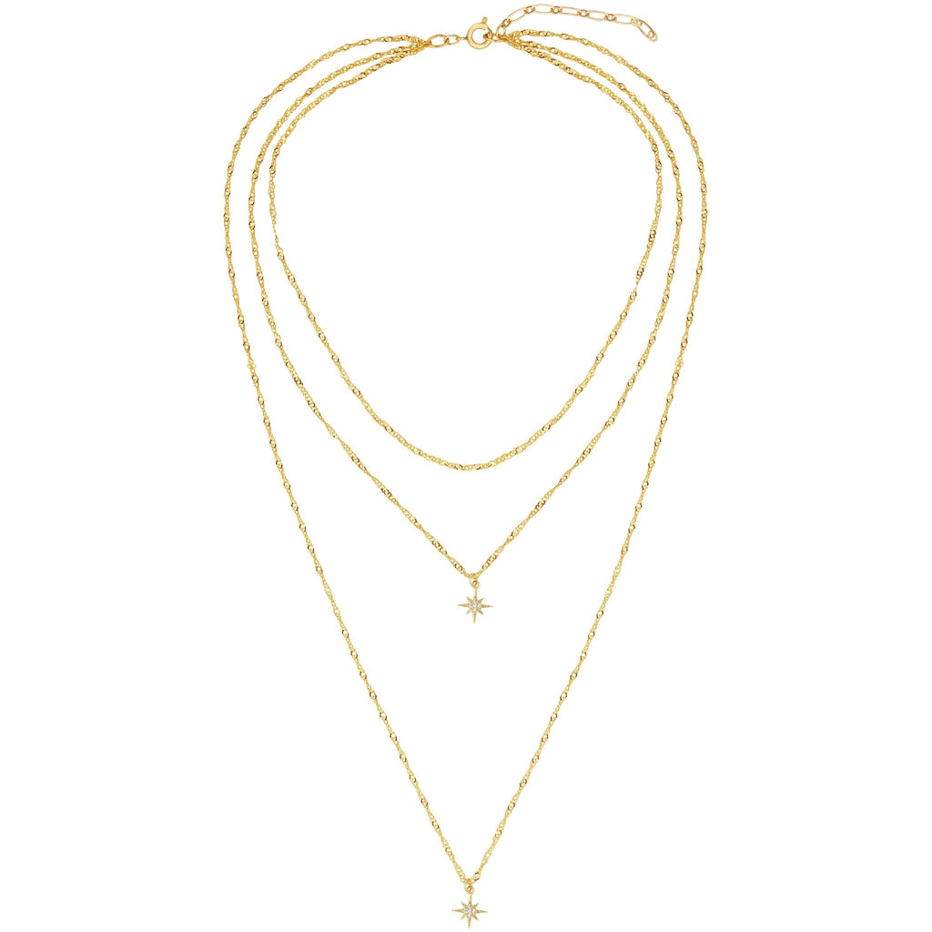"Layer up with one necklace in three. 13"" + 15"" + 21"" long 16k gold plated chain + 2"" extender."