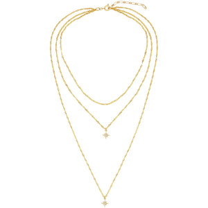 "Layer up with one necklace in three. 13"" + 15"" + 21"" long 16k gold plated chain + 2"" extender. multilayered star necklace. five and two"