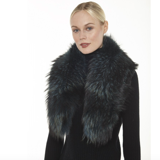 100% Genuine Fur Collar made of North American Raccoon fur. Fashion fur collar, black furry collar, Linda Richards Luxury, authentic fur