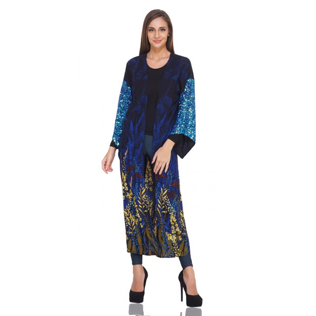 Insignia blue sequined sleeve kimono with floral print. made by america and beyond