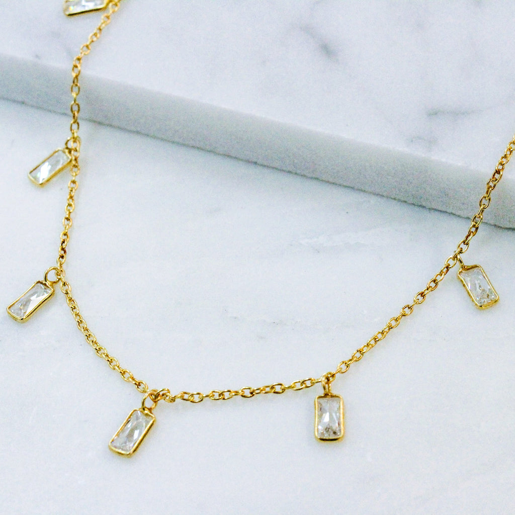 CZ baguette choker, shaker choker, dangle choker in oxidized gold.