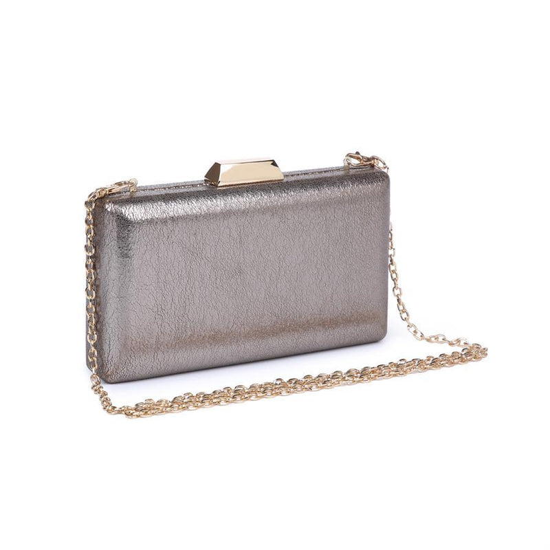 What an eye-catching evening bag in shimmery pewter.