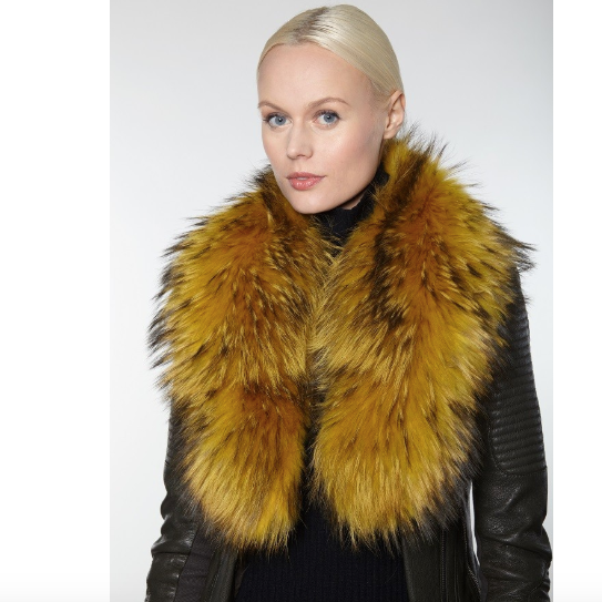 100% Genuine Fur Collar made of North American Raccoon fur. Fashion fur collar, mustard furry collar, Linda Richards Luxury, authentic fur