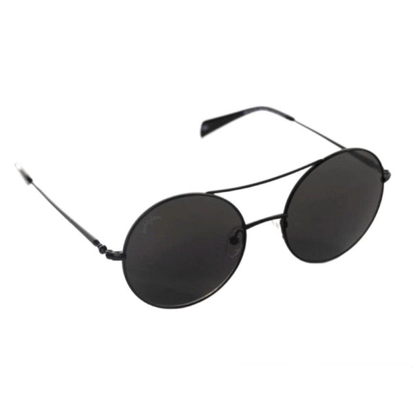 Round Double Ridge Sunglasses in Black
