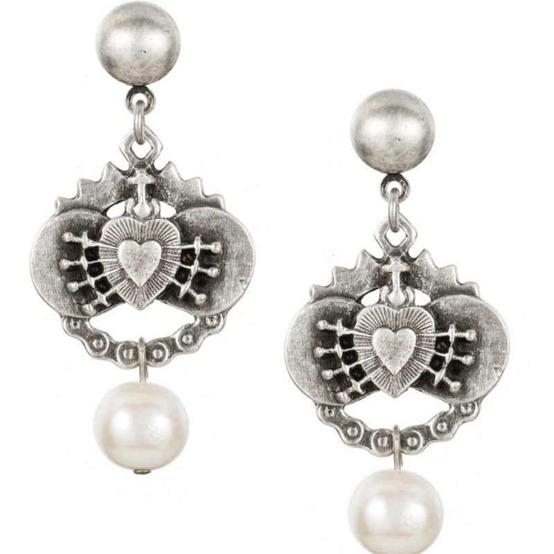 Pearl Earrings with Heart