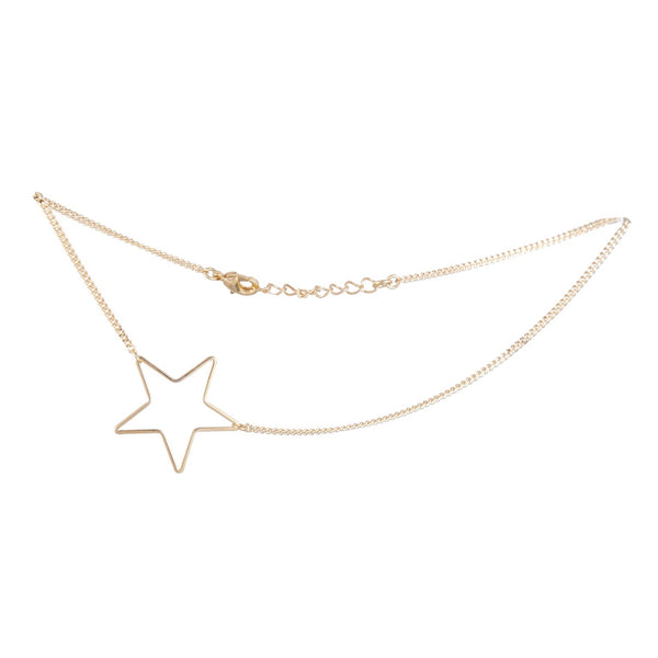 "Choker with off-centered star shaped pendant measures 12"". 14kt gold-plated over brass."
