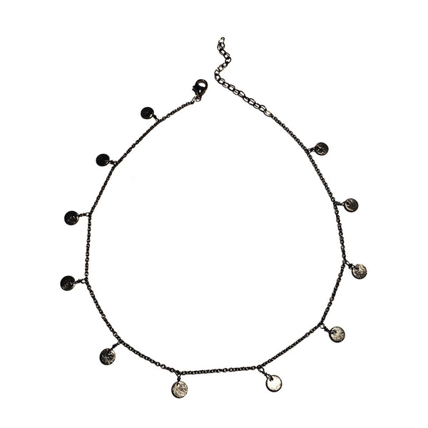 dainty gunmetal necklace with discs throughout necklace