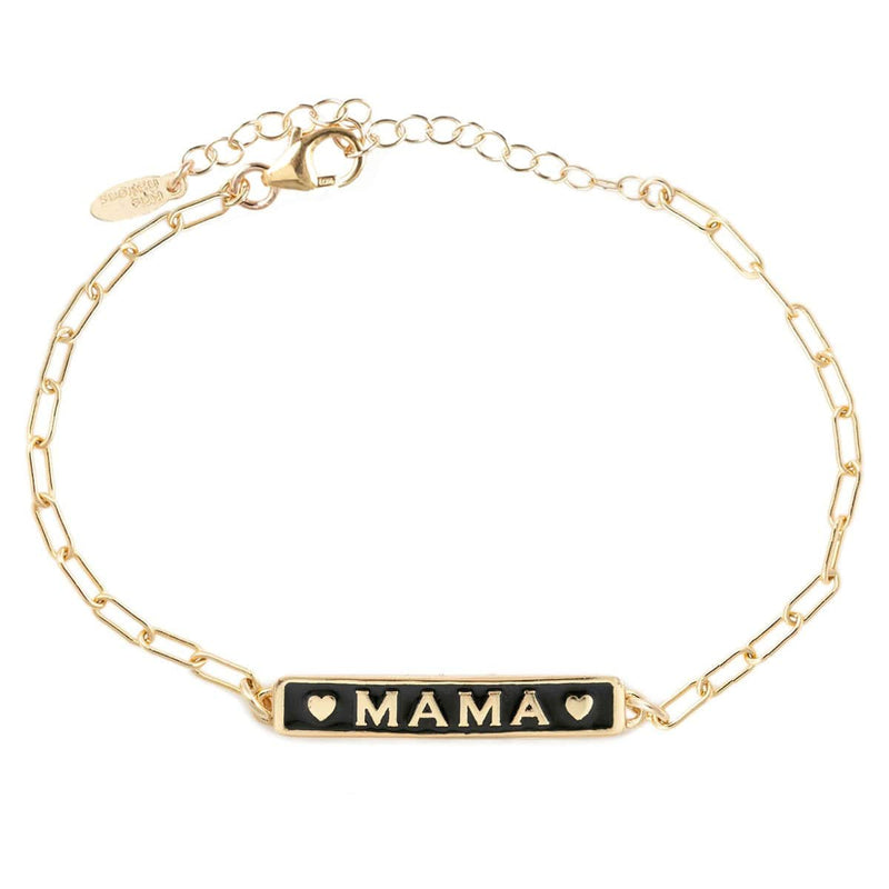 Mama Enamel Bracelet with Drawn Cable Chain