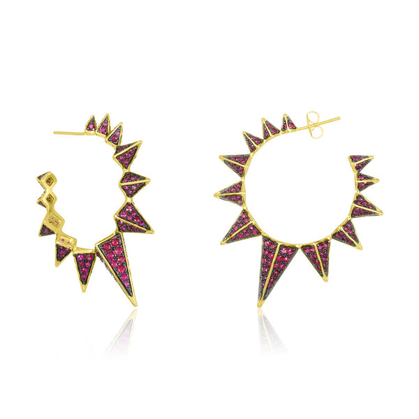 Ruby Mama Gabriella Spiked Hoop Earrings