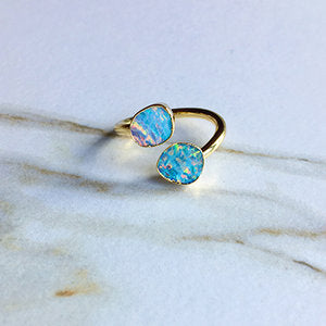 Mini white opal duo ring.