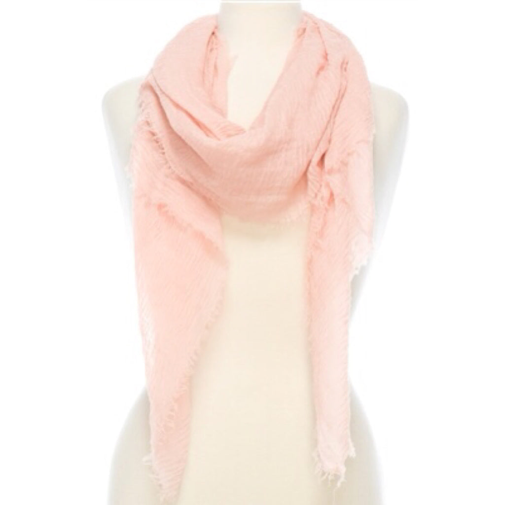 solid color fringe scarf, pink scarf, lightweight scarf, spring scarf, shawl