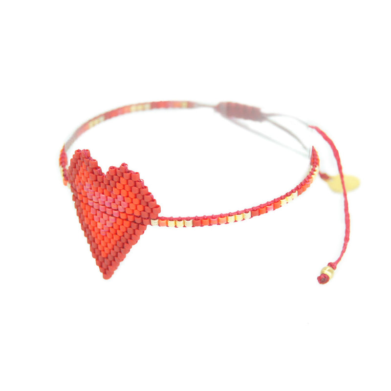 Red heart bracelet, adjustable fit. Made by Mishky, valentines day gift. gift for her