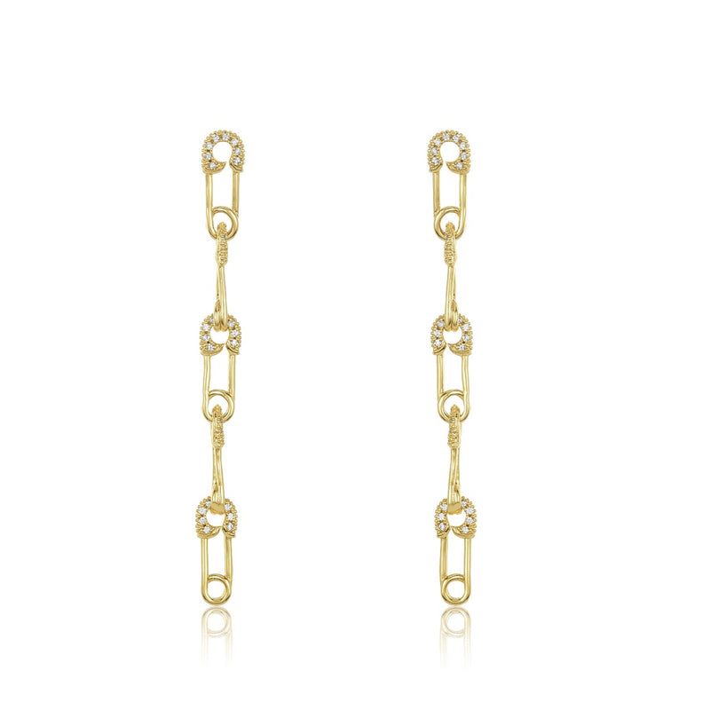 Safety Pin Drop Earrings