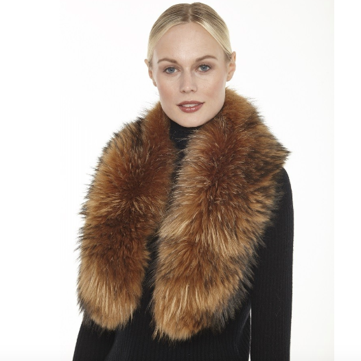 100% Genuine Fur Collar made of North American Raccoon fur. Fashion fur collar, tan furry collar, Linda Richards Luxury, authentic fur