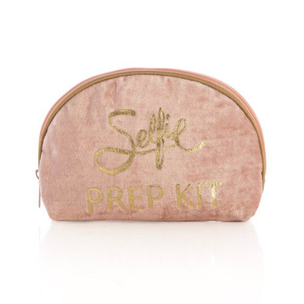 "Pink makeup pouch with gold writing.  L 7"" x W 1.5"" x H 4.5""  Made by Shiraleah."