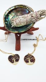 Heart Shape Garnet Tree of Life Necklace & Pendant