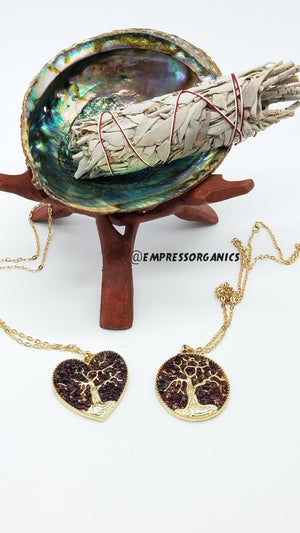 Load image into Gallery viewer, Heart Shape Garnet Tree of Life Necklace & Pendant