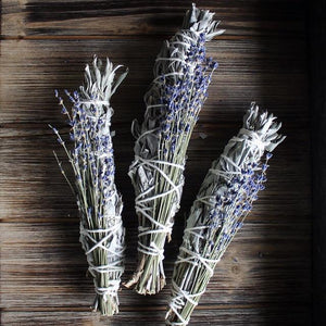 "Load image into Gallery viewer, White Sage & Lavender Smudge Stick - 8""L (Large)"