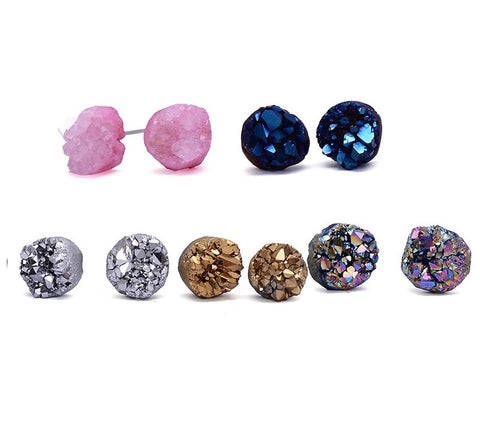 Gemstone Cluster Medium Stud Earrings