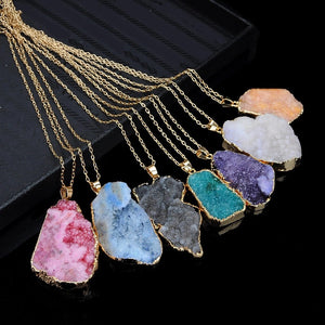 Rough Stone Clusters in Gold Pendant & Necklace