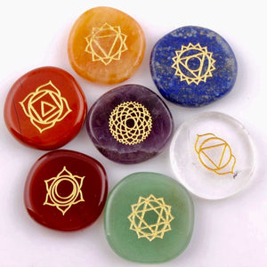 Load image into Gallery viewer, 7 Piece Chakra Engraved Stone Set