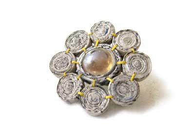 Brooch with 8 Floral Beads and Glass