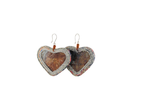 Heart Earring with Stone (Large)