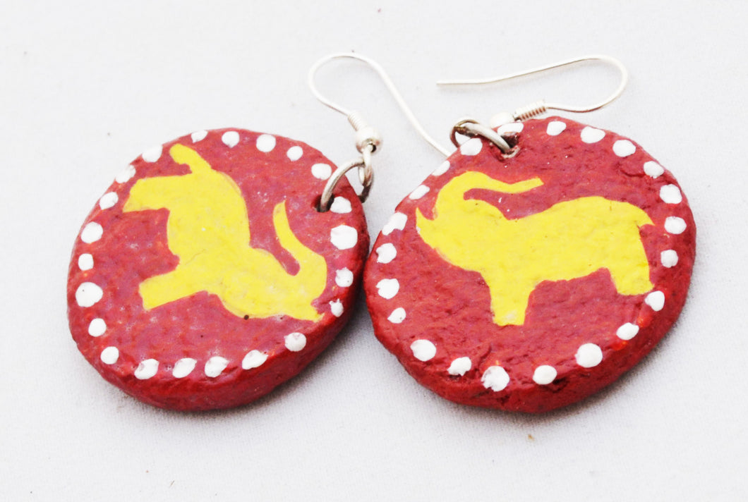 Papier Mache Earring - Elephant (Large)