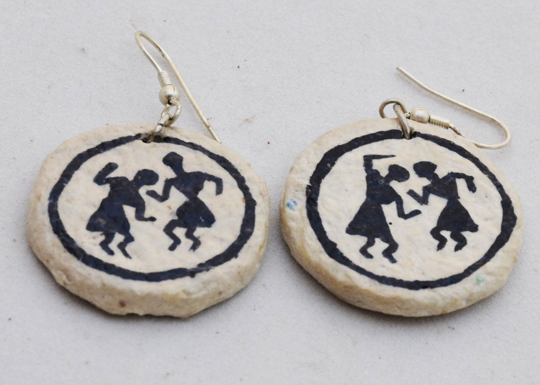 Papier Mache Earrings- Worli (Small)