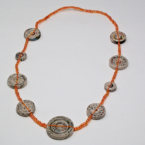 Necklace with 9 Mixed Round Rolled Beads