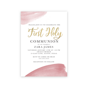 First Communion Pink Watercolor Digital Invitation